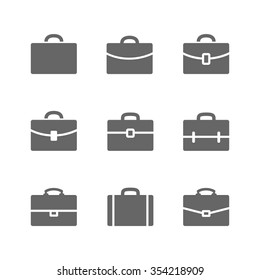 Set of Briefcase icons. Black Briefcase, suitecase and school case pictograms isolated on white.