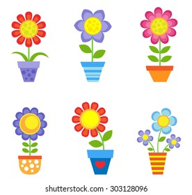 Set of bright flowers in pots. Raster version