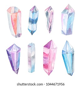 Set of  bright hand painted watercolor crystals and gems in blue, pink and violet colors. Romantic decorative isolated elements perfect for gretting gift paper, wedding decor or card making