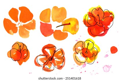 A set of bright watercolour flowers on white background