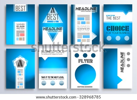 set brochure flyers layout templates you stock illustration