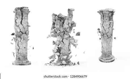Set of Broken Classic Ancient Column isolated on white background. 3D Rendering