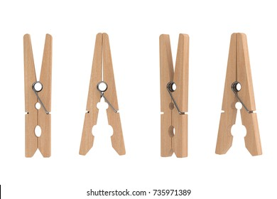 Set of Brown Wooden Clothespins on a white background. 3d Rendering