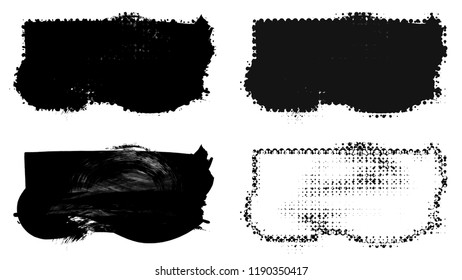 Set of brush stroke and halftone element on a white background.
