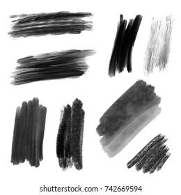 Set of brush strokes, black paint on white background, artistic design elements.