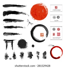 Set of brushes and other design elements, hand-drawn with ink in traditional Japanese style sumi-e. Red circle - symbol of Japan, enso zen circles, hieroglyphs, decorative stamps.