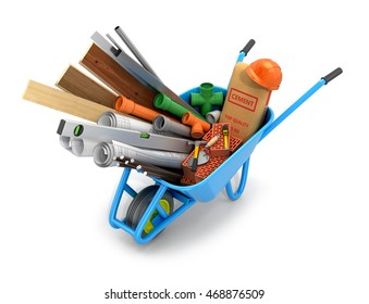 Set of building materials, drawings and tools isolate white background.3D illustration
