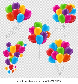 Set, Bunches and Groups of Color Glossy Helium Balloons Isolated on Transparent Background.  Illustration
