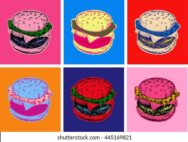 Set Burger Illustration Pop Art Style