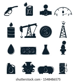 Set of Business label. Oil Development and Extraction. World Petrol Production. Oil Biz Symbol, Icon and Badge. Simple illustration.