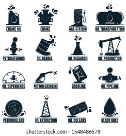 Set of Business label with Oil Drop. Oil Development and Extraction. World Petrol Production. 16 Oil Biz Symbol, Icon and Badge. Simple illustration.