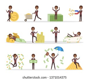 Set of businessman with money. Happy successfull man jumping with a pile of money, sitting on the banknotes and swimming in bath full of cash. Financial well-being. Isolated flat  illustration