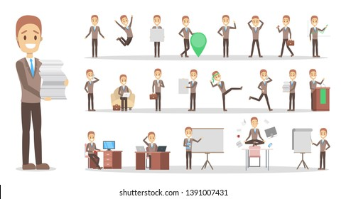 Set of businessman or office worker character in various poses, face emotions and gestures. Working man. Isolated flat  illustration