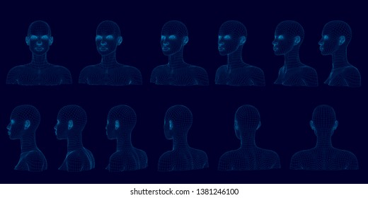 Set with bust of girl in different positions. Wireframe of head of polygonal girl of blue lines on a dark background. Sequence of rotation of bust of girl. 3D illustration