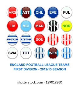 Set of buttons for english first division football league teams
