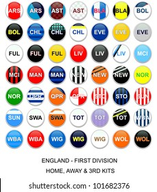 Set of buttons with home, away and third kits for english first division football league teams