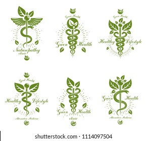 Set of Caduceus conceptual emblems created with snakes and green leaves. Wellness and harmony metaphor. Alternative medicine concept, phytotherapy logotypes.
