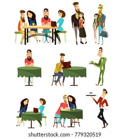 Set of cafe visitors cartoon characters isolated on white background. People sitting at tables, talking to each other, reading menu, drinking tea or coffee, flat style design elements, icons.