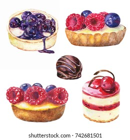 Set of cake with berries. Watercolor illustration