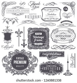 set: calligraphic design elements and page decoration, Premium Quality and Satisfaction Guarantee Label collection with vintage engraving flowers