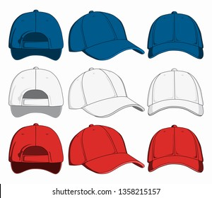Set of caps, front, back and side view. Raster version.