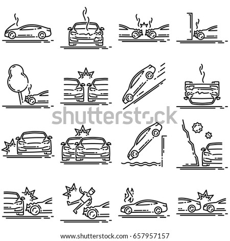 Set Car Accident Outline Icon Stock Illustration 657957157