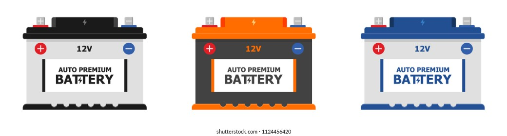 Set Car Battery icon isolated on white background. Accumulator battery energy power and electricity accumulator battery. Battery accumulator car auto parts electrical supply power in flat style.