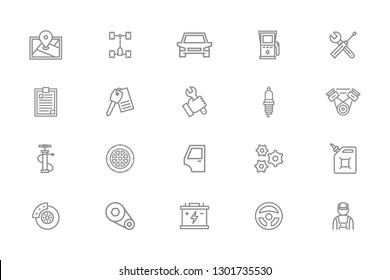 Set of car service and auto repair line icons. Route map, undercarriage, automobile, oil station, wrench, screwdriver, clipboard, key, spark plug, mechanic, pump, wheel, gear wheel and more.