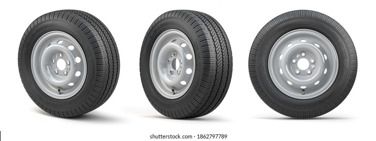 Set of car wheels with tyres for vans and trucks isolated on white background. 3d illustration