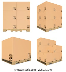 set carboard box. carboard open and closed