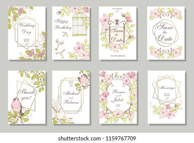 Set of card with wiid rose, robin bird,  leaves and geometrical frame. Wedding ornament concept. Floral poster, invite. Decorative greeting card, invitation design background