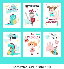 set of cards, gift tags with fairytale medieval knight little hero, beautiful princess, cute mythical dragon and inspirational quotations.