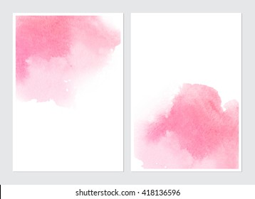 Set of cards with watercolor blots. Set of cards with hand drawn blots on white background for your design. Save the Date, postcard, banner, logo, business card.