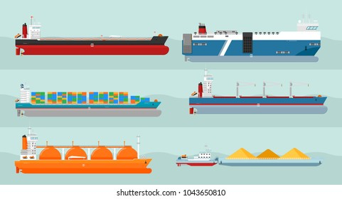 Set of cargo ships s. Flat design. Ferry, container, freighter, bulk, gas carriers, tugboat ships illustrations. Transatlantic carriage by merchant navy. For transport company ad, infographics