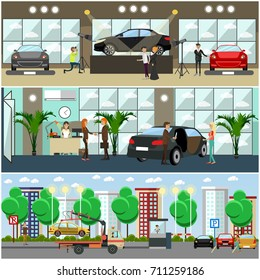 Set of cars concept posters, banners. Car show, car shop, parking lot with sellers, buyers, drivers flat style design elements.