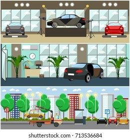 Set of cars concept posters, banners. Car show, car shop, parking lot interior flat style design elements.