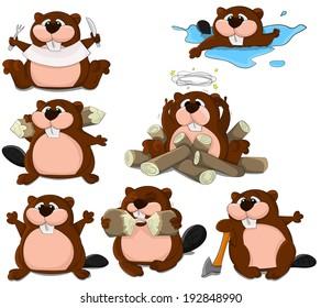Set of cartoon beavers