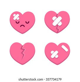 Set of cartoon broken hearts with cracks and bandages. Isolated illustration.