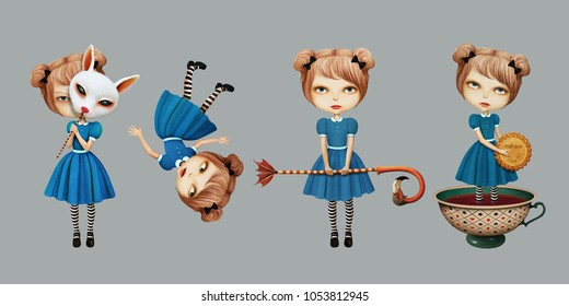 Set of cartoon character in  story Wonderland with  girl