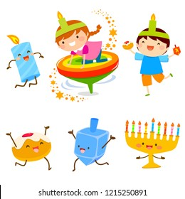 Set of cartoon children and holiday symbols for Hanukkah