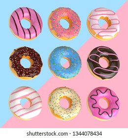 Set of cartoon colorful donuts isolated on blue and pink background. Donuts collection into glaze for menu design, cafe decoration, delivery box. 3d-illustration.