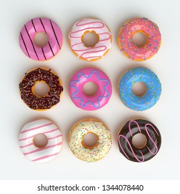 Set of cartoon colorful donuts isolated on white background. Top View Doughnuts collection into glaze for menu design, cafe decoration, delivery box. 3d-illustration.