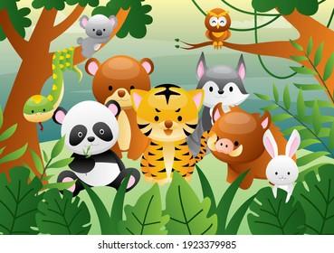 Set of Cartoon Cute Animals in the Jungle
