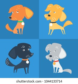 Set of cartoon cute funny Mongrel or Mixed breed dog in flat style
