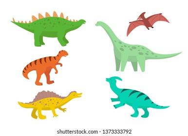 set of cartoon dinosaurs, diplodocus, stegosaurus, pteranodon