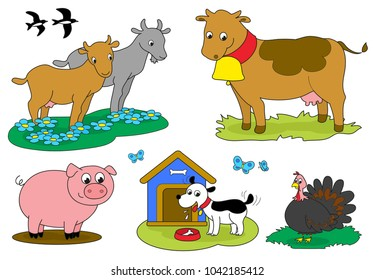 Set of cartoon farm animals for children with goats and cow birds pig dog and turkey.