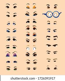 set of cartoon flat male and female eyes