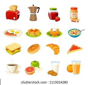 Set of cartoon food: breakfast. Raster version illustration.