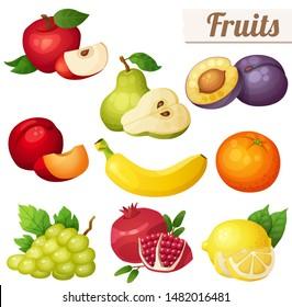 Set of cartoon food icons. Fruits isolated on white background. Red apple, pear, violet plum, red plum, banana, orange, grape, pomegranate lemon