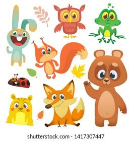 Set of cartoon forest animals illustration. Squirrel, owl,  bunny rabbit, frog, chipmunk, fox,  bear, ladybug
